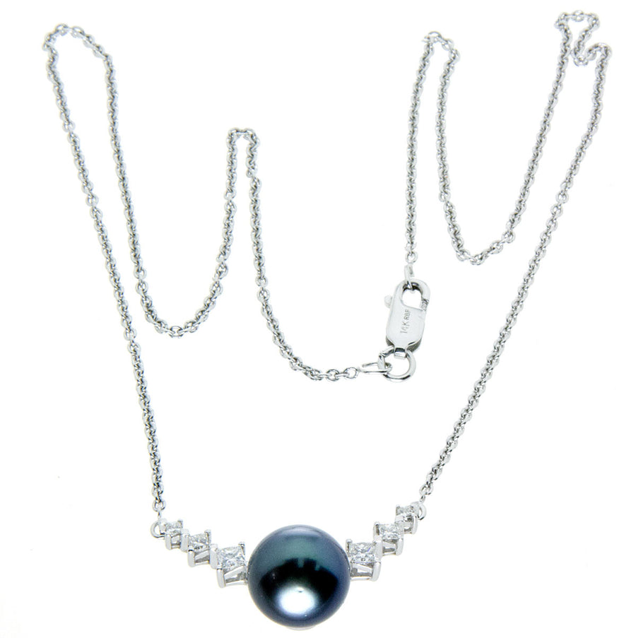 14k Black Pearl & Diamond Necklace - Chicago Pawners & Jewelers