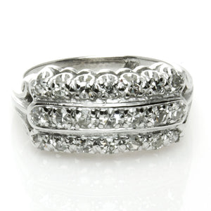 1950s 14k 3 Row Diamond Anniversary Band