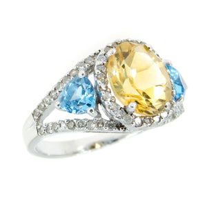 4.10ct Citrine Blue Topaz & Diamond Ring