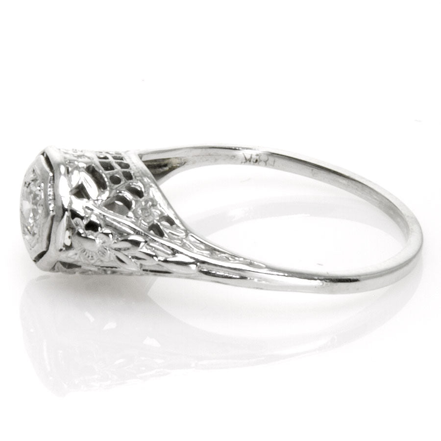 Art Deco Filigree Solitaire Engagement Ring - Chicago Pawners & Jewelers