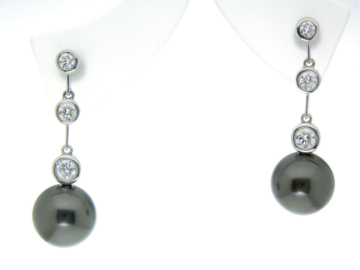Tahitian Black Pearl & Diamond Earrings - Chicago Pawners & Jewelers