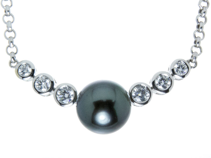 Tahitian Black Pearl & Diamond Necklace