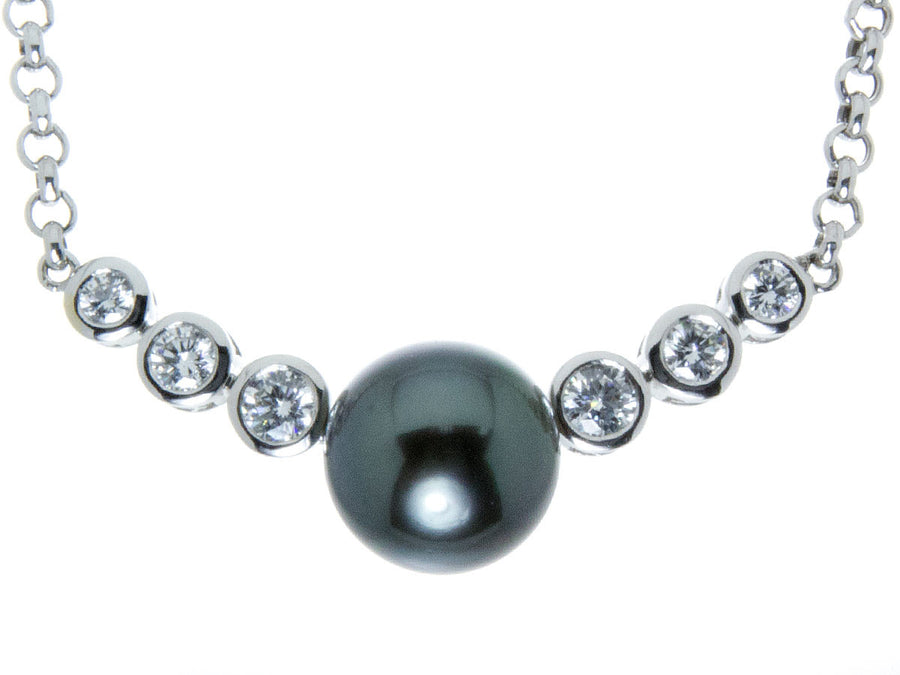 Tahitian Black Pearl & Diamond Necklace - Chicago Pawners & Jewelers