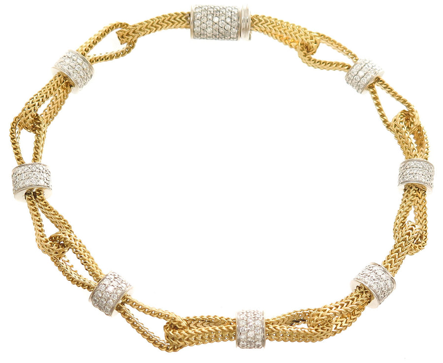 Designer 18kt Diamond Station Bracelet - Chicago Pawners & Jewelers
