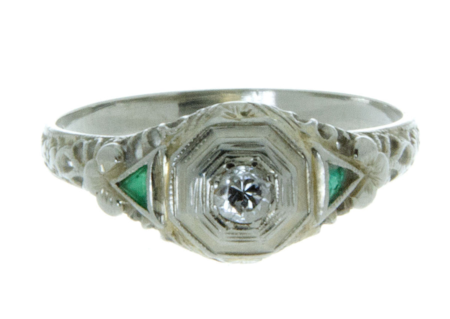 Art Deco Diamond & Emerald Filigree Ring - Chicago Pawners & Jewelers