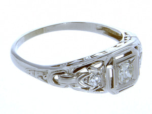 18K Art Deco Diamond Engagement Ring - Chicago Pawners & Jewelers