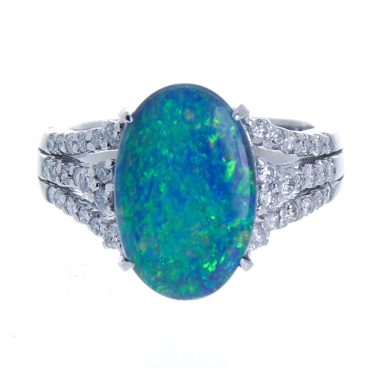 4.37ct Black Opal & Diamond Ring