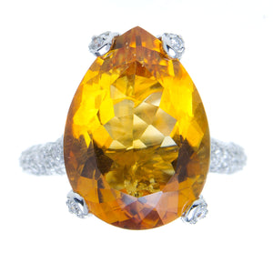 12.43ct Citrine & Diamond Ring