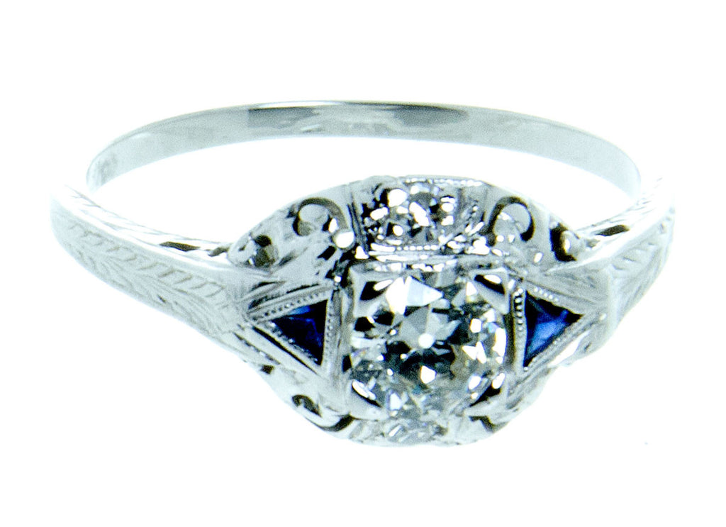 Art Deco Sapphire & Diamond Engagement Ring - Chicago Pawners & Jewelers