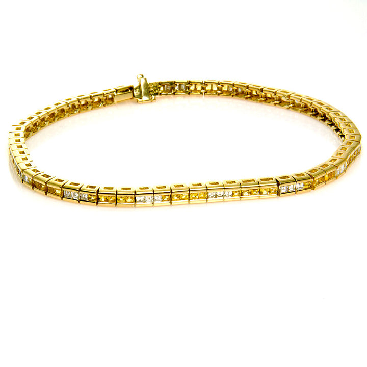 3.50ct Yellow Sapphire & Diamond Bracelet - Chicago Pawners & Jewelers