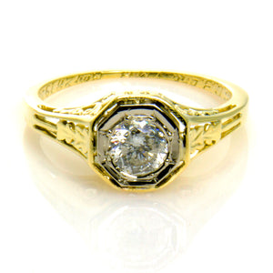 1920s Filigree Solitaire Diamond Engagement Ring - Chicago Pawners & Jewelers