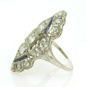Art Deco Platinum Sapphire & Diamond Ring - Chicago Pawners & Jewelers