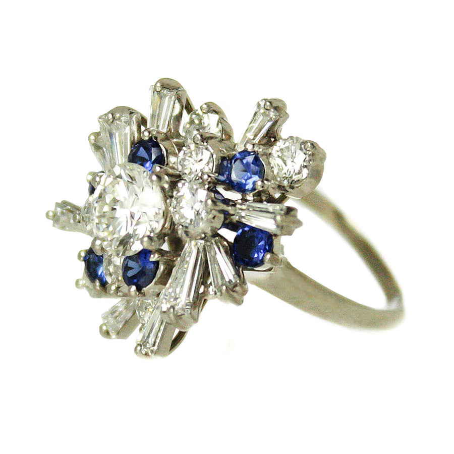 1950s 3.15ct Diamond & Sapphire Cocktail Ring - Chicago Pawners & Jewelers