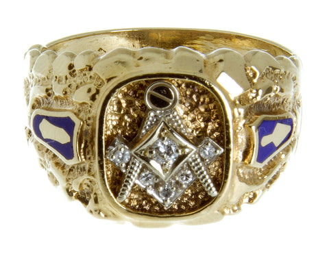 1970s Diamond & Enamel Masonic Ring