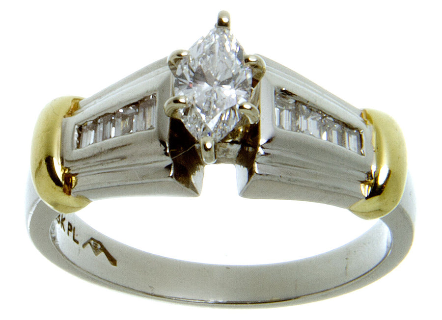 Platinum & 18kt Gold Diamond Engagement Ring - Chicago Pawners & Jewelers
