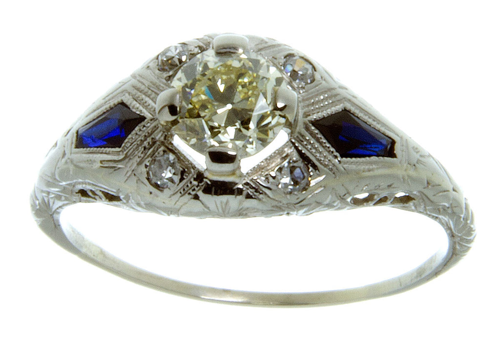 Art Deco Diamond & Sapphire Engagement Ring - Chicago Pawners & Jewelers