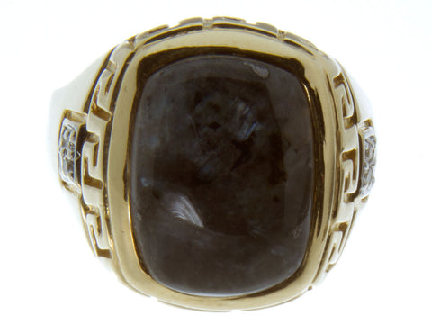 Man's 14kt Agate & Diamond Ring