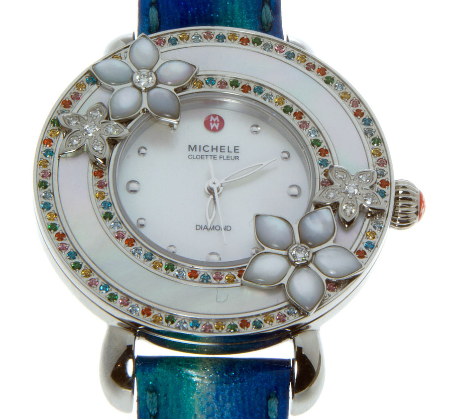 Michele Cloette Fleur Colored Stones Flower Watch - Chicago Pawners & Jewelers
