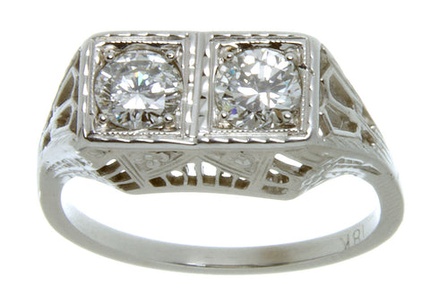 Antique Filigree 2 Stone Diamond Ring