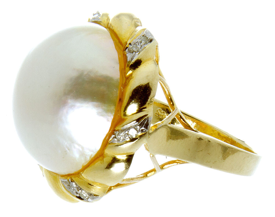 14kt Mabe Pearl & Diamond Ring - Chicago Pawners & Jewelers