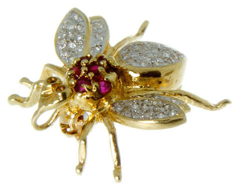 14K Diamond & Ruby Bug Pin/Pendant