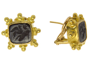 Elizabeth Locke Onyx Intaglio Earrings - Chicago Pawners & Jewelers