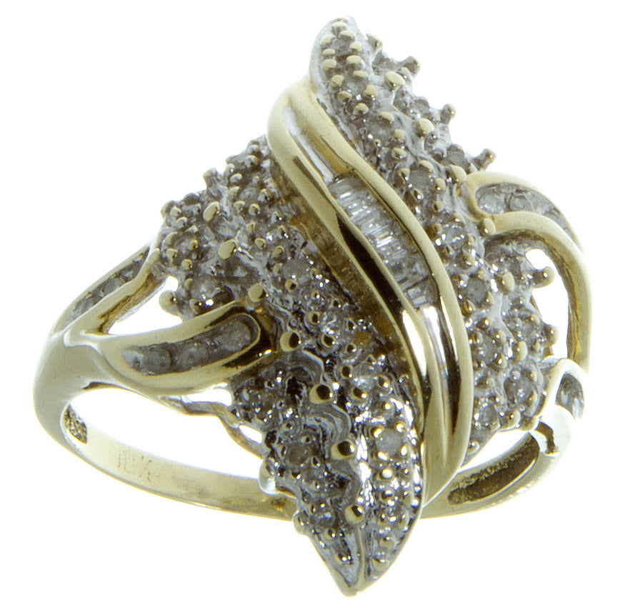 1/4ct Round & Baguette Diamond Cocktail Ring - Chicago Pawners & Jewelers