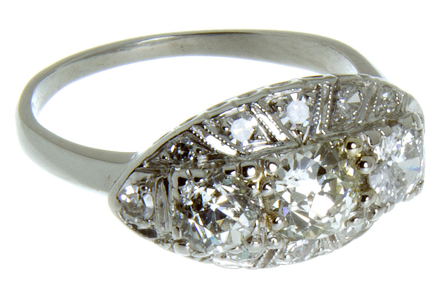 Art Deco 3 Stone Diamond Engagement Ring - Chicago Pawners & Jewelers