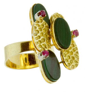 1970s 18kt Malachite & Ruby Ring - Chicago Pawners & Jewelers
