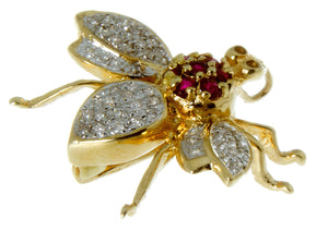 14K Diamond & Ruby Bug Pin/Pendant - Chicago Pawners & Jewelers