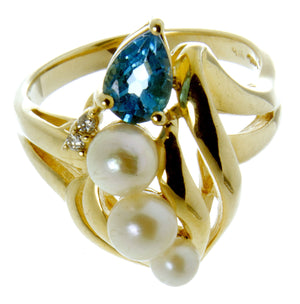 14kt Pearl Blue Topaz & Diamond Ring - Chicago Pawners & Jewelers