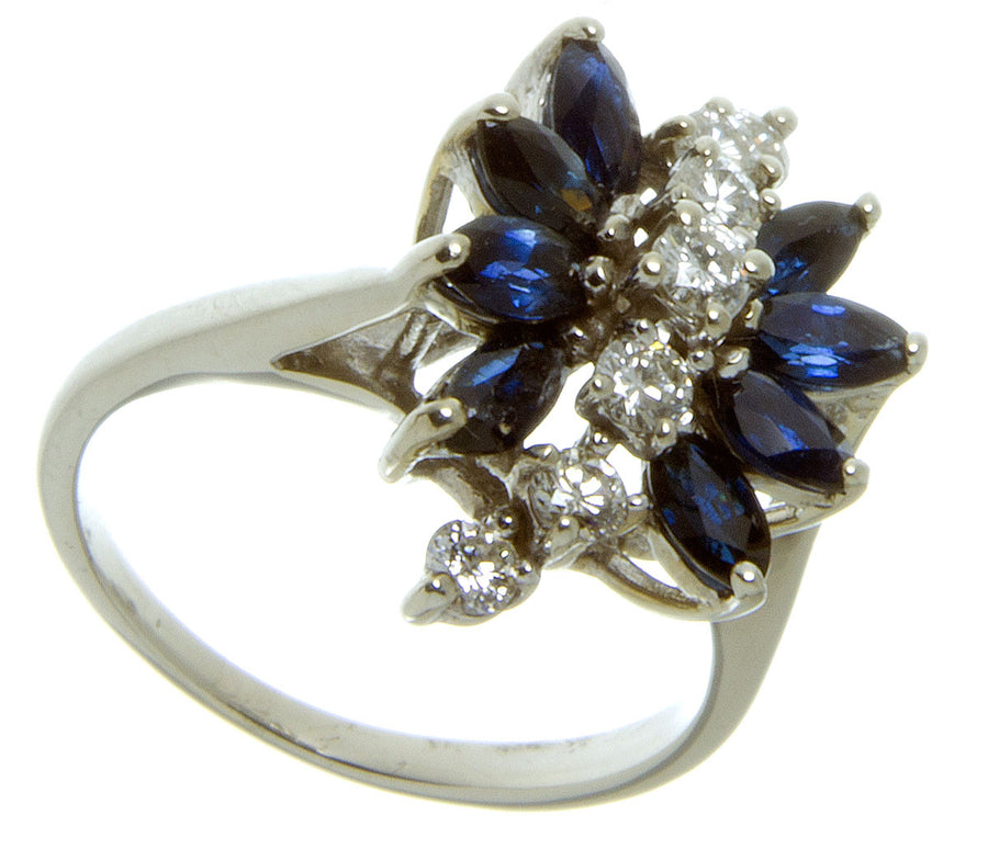 1960s Sapphire & Diamond Cocktail Ring - Chicago Pawners & Jewelers