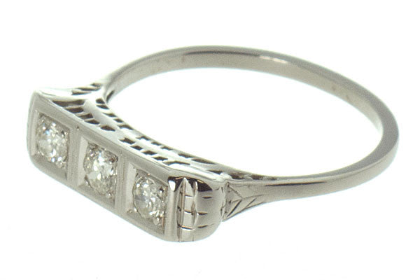 Antique Filigree 3 Stone Diamond Band - Chicago Pawners & Jewelers