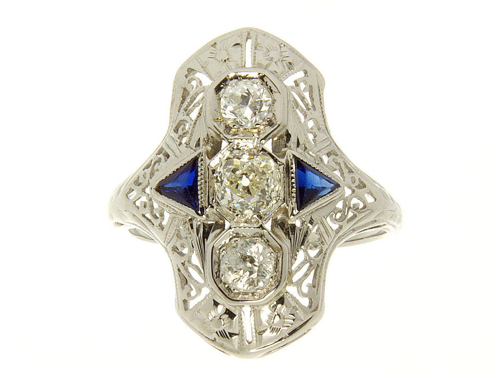 1920s Filigree Diamond & Sapphire Ring - Chicago Pawners & Jewelers