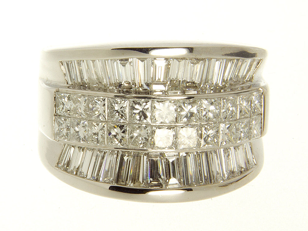 4.00ct Princess & Baguette Diamond Wide Band Ring - Chicago Pawners & Jewelers