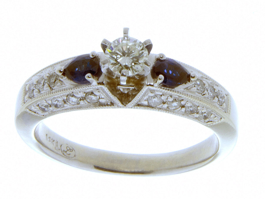 1.18ct Diamond & Sapphire Engagement Ring - Chicago Pawners & Jewelers
