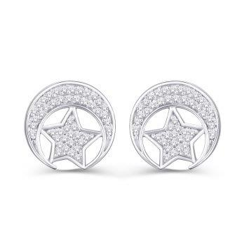 Diamond Crescent Moon & Star Earrings