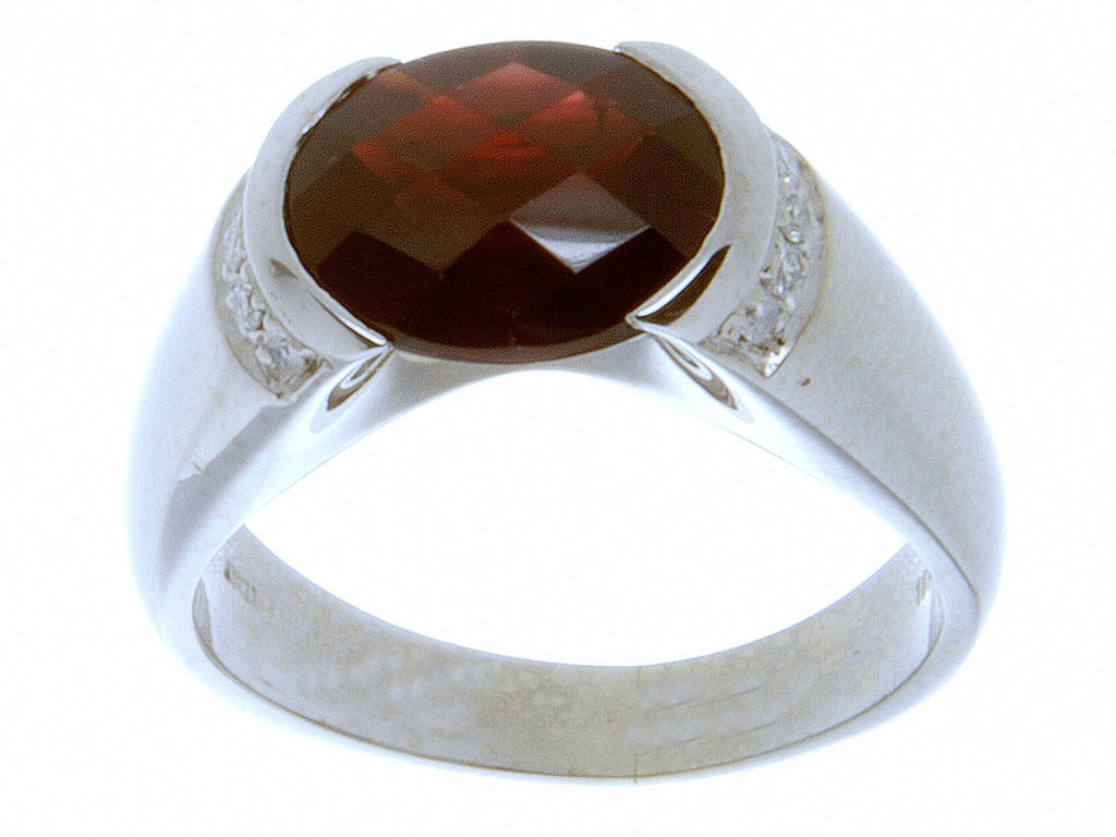 4.50ct Garnet & Diamond Ring in 18K White Gold - Chicago Pawners & Jewelers