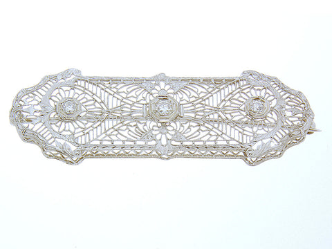 1920s Filigree Diamond Pin
