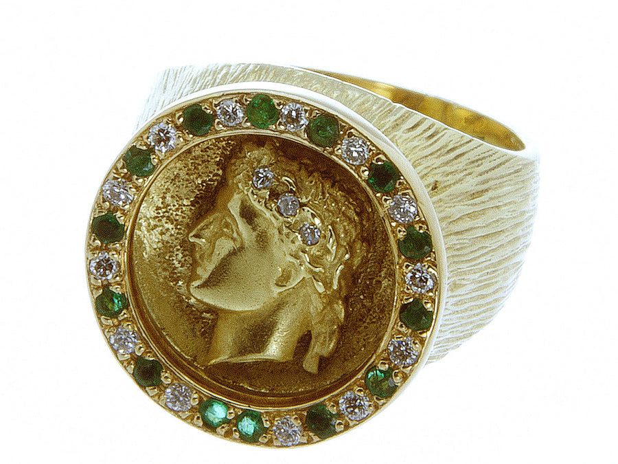 1960s Emerald & Diamond Caesar Ring - Chicago Pawners & Jewelers