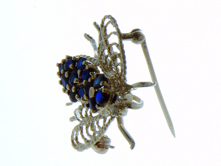 14K Sapphire & Diamond Fly Pin - Chicago Pawners & Jewelers