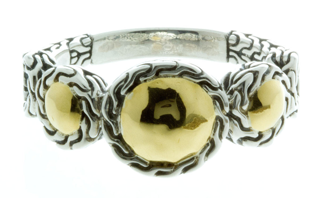 John Hardy Silver & 22kt Gold Dot Ring - Chicago Pawners & Jewelers