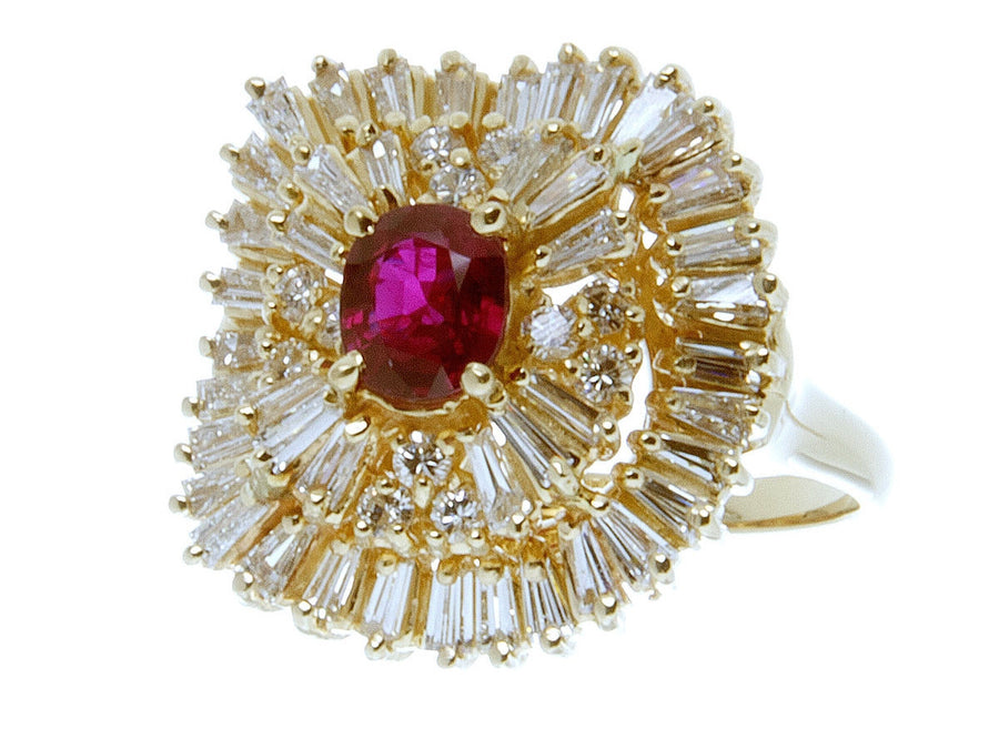 3.00ct Ruby & Diamond Ballerina Ring - Chicago Pawners & Jewelers
