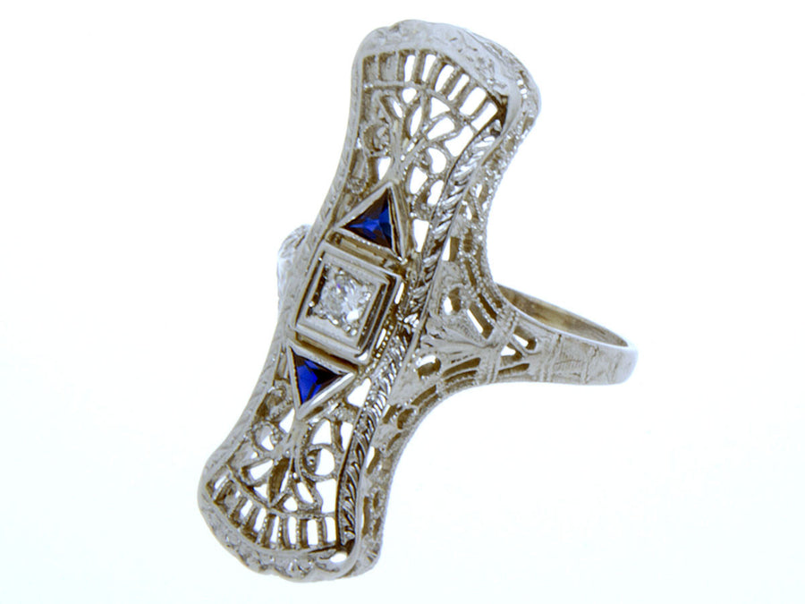 Edwardian Diamond & Sapphire Filigree Ring - Chicago Pawners & Jewelers