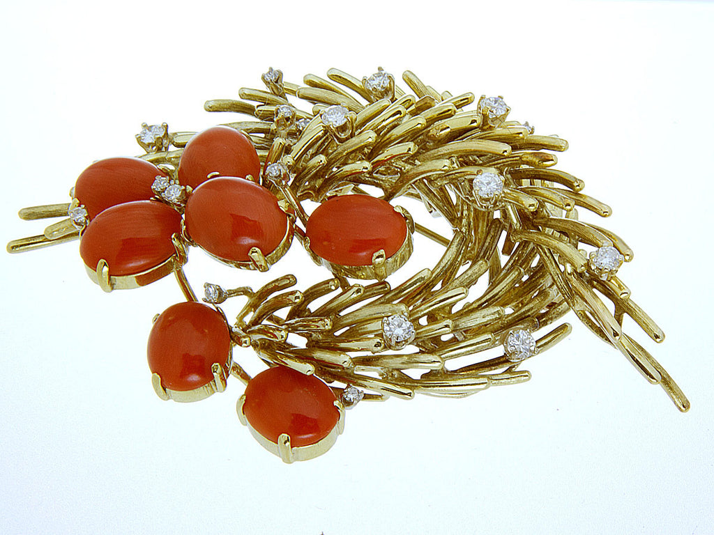 Vintage 1960s Coral & Diamond Pin
