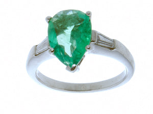 Platinum 1.95ct Emerald & Diamond Ring - Chicago Pawners & Jewelers