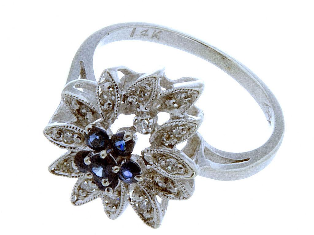 14K White Gold Sapphire & Diamond Ring - Chicago Pawners & Jewelers