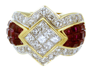 4.50ct Ruby & Diamond Ring in 18kt Gold - Chicago Pawners & Jewelers