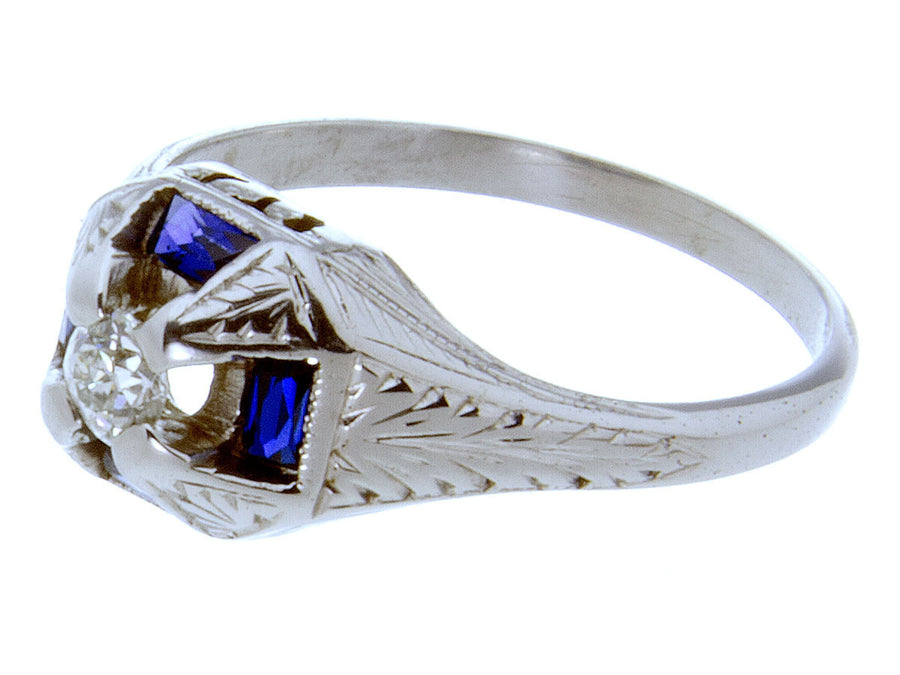 1920s Diamond & Sapphire Engagement Ring - Chicago Pawners & Jewelers