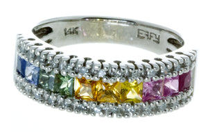 Effy Watercolors Rainbow Sapphire & Diamond Ring - Chicago Pawners & Jewelers